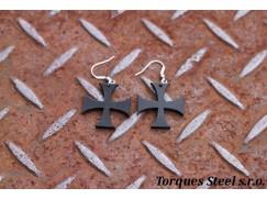 Naušnice kříž templářský černý 29mm